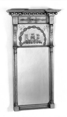 American. <em>Looking Glass</em>, 1815-1820., 44 1/2 x 22 3/4 in. (113 x 57.8 cm). Brooklyn Museum, Bequest of Mrs. William Sterling Peters, 50.141.146. Creative Commons-BY (Photo: Brooklyn Museum, 50.141.146_bw.jpg)