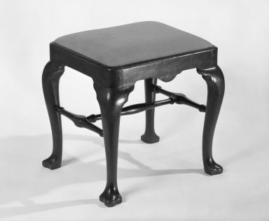 American. <em>Stool</em>. Walnut, Overall height: 18 in. (45.7 cm). Brooklyn Museum, Bequest of Mrs. William Sterling Peters, 50.141.16. Creative Commons-BY (Photo: Brooklyn Museum, 50.141.16_bw.jpg)