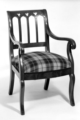 American. <em>Armchair</em>, ca. 1850. Mahogany, modern textile, 35 3/4 x 20 3/4 x 19 1/2 in. (90.8 x 52.7 x 49.5 cm). Brooklyn Museum, Bequest of Mrs. William Sterling Peters, 50.141.19a. Creative Commons-BY (Photo: Brooklyn Museum, 50.141.19a_bw.jpg)