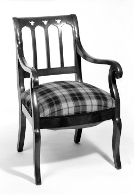 American. <em>Armchair</em>, ca. 1850. Mahogany, 35 3/4 x 20 3/4 x 19 1/2 in. (90.8 x 52.7 x 49.5 cm). Brooklyn Museum, Bequest of Mrs. William Sterling Peters, 50.141.19b. Creative Commons-BY (Photo: Brooklyn Museum, 50.141.19b_bw.jpg)