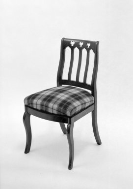 American. <em>Side Chair</em>, ca. 1850. Mahogany, modern upholstery, 33 3/4 x 18 x 17 3/4 in. (85.7 x 45.7 x 45.1 cm). Brooklyn Museum, Bequest of Mrs. William Sterling Peters, 50.141.19c. Creative Commons-BY (Photo: Brooklyn Museum, 50.141.19c_acetate_bw.jpg)