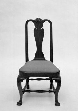 <em>Side Chair</em>. Walnut, Overall height: 40 1/4 in. (102.2 cm). Brooklyn Museum, Bequest of Mrs. William Sterling Peters, 50.141.2. Creative Commons-BY (Photo: Brooklyn Museum, 50.141.2_acetate_bw.jpg)