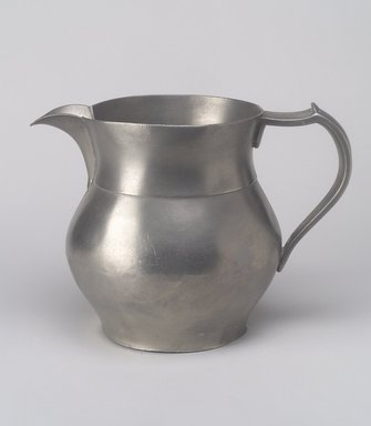 American. <em>Water Pitcher</em>, 1837-1860. Pewter, 6 1/4 x 8 3/8 x 5 7/8 in. (15.9 x 21.3 x 14.9 cm). Brooklyn Museum, Bequest of Mrs. William Sterling Peters, 50.141.37. Creative Commons-BY (Photo: Brooklyn Museum, 50.141.37.jpg)