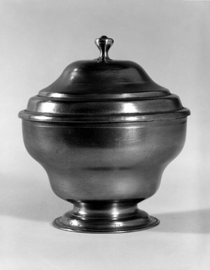 Unknown. <em>Sugar Bowl with Lid</em>, 1770-1810. Pewter, 4 7/8 x 4 1/2 x 4 1/2 in. (12.4 x 11.4 x 11.4 cm). Brooklyn Museum, Bequest of Mrs. William Sterling Peters, 50.141.86a-b. Creative Commons-BY (Photo: Brooklyn Museum, 50.141.86_bw.jpg)