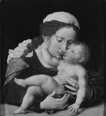 Flemish (Antwerp School). <em>Madonna and Child</em>, mid-16th century. Oil on panel, 10 1/2 x 9 7/16 in. (26.7 x 24 cm). Brooklyn Museum, Bequest of Mrs. William Sterling Peters, 50.143.3 (Photo: Brooklyn Museum, 50.143.3_bw.jpg)
