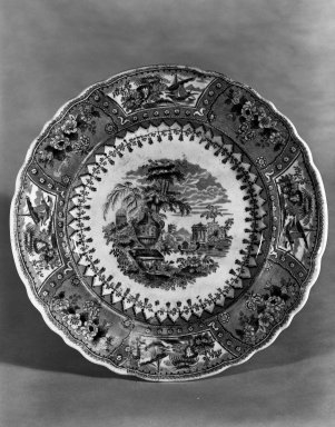 American Pottery Company (1833-1845). <em>Plate, Canova Pattern</em>, ca. 1845. Ceramic, glaze, and underglaze, diameter: 9 1/8 in. (23.2 cm). Brooklyn Museum, Museum Collection Fund, 50.144. Creative Commons-BY (Photo: Brooklyn Museum, 50.144_bw.jpg)