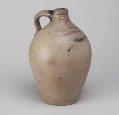 American. <em>Jug</em>, between 1799-1820. Stoneware, 9 1/4 x 6 1/4 x 6 1/4 in. (23.5 x 15.9 x 15.9 cm). Brooklyn Museum, Museum Collection Fund, 50.146. Creative Commons-BY (Photo: Brooklyn Museum, 50.146.jpg)