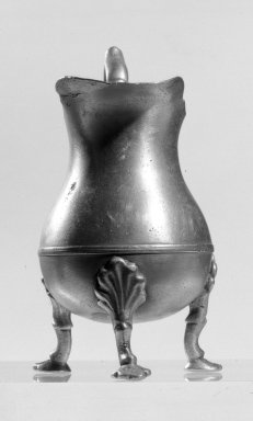 Peter Young. <em>Creamer</em>, 1775-1795. Pewter, height: 4 7/8 in. (12.4 cm). Brooklyn Museum, Museum Collection Fund, 50.147. Creative Commons-BY (Photo: Brooklyn Museum, 50.147_front_bw.jpg)
