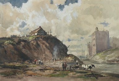 Charles Henry Miller (American, 1842-1922). <em>The Way the City is Built</em>, 1877. Watercolor with graphite pencil underdrawing on moderately textured, moderately thick, cream, wove paper (cold-pressed watercolor paper), 12 7/8 x 18 1/2 in. (32.7 x 47 cm). Brooklyn Museum, Dick S. Ramsay Fund, 50.149.2 (Photo: Brooklyn Museum, 50.149.2_PS2.jpg)