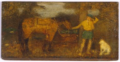 Albert Pinkham Ryder (American, 1847-1917). <em>The Hunter</em>, ca. 1880. Oil on panel, 5 13/16 x 11 7/16 in. (14.8 x 29 cm). Brooklyn Museum, Gift of Rodman Gilder, 50.14 (Photo: Brooklyn Museum, 50.14_SL3.jpg)