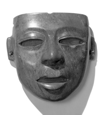 Teotihuacan. <em>Mask</em>, 200-750. Green stone, 2 1/2 × 6 × 5 1/2 in. (6.4 × 15.2 × 14 cm). Brooklyn Museum, A. Augustus Healy Fund, 50.150. Creative Commons-BY (Photo: Brooklyn Museum, 50.150_acetate_bw.jpg)