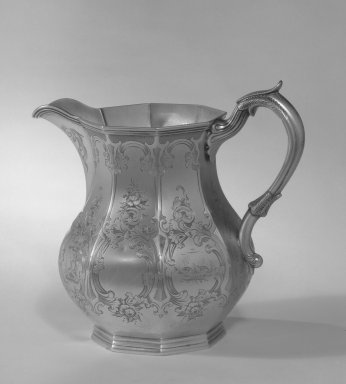 W. Adams. <em>Pitcher</em>, ca. 1830. Silver, 7 x 6 in. (17.8 x 15.2 cm). Brooklyn Museum, Gift of Belle M. Kitching, 50.152. Creative Commons-BY (Photo: Brooklyn Museum, 50.152_acetate_bw.jpg)