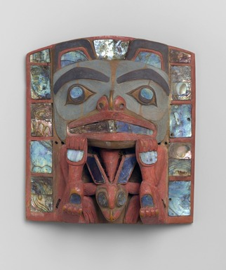 Charles Edenshaw (Haida, 1834-1924). <em>Headdress Frontlet</em>, late 19th century. Abalone shell, wood, pigment, 6 1/8 x 5 1/2 x 3 in. (15.6 x 14 x 7.6 cm). Brooklyn Museum, Gift of Helena Rubinstein, 50.158. Creative Commons-BY (Photo: Brooklyn Museum, 50.158_PS1.jpg)
