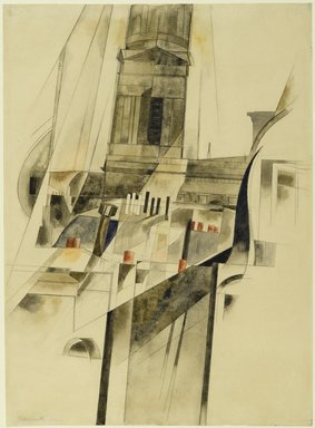 Charles Demuth (American, 1883-1935). <em>Roofs and Steeple</em>, 1921. Watercolor and graphite on textured wove paper, 14 3/8 x 10 7/16 in. (36.5 x 26.5 cm). Brooklyn Museum, Dick S. Ramsay Fund, 50.159 (Photo: Brooklyn Museum, 50.159_PS2.jpg)