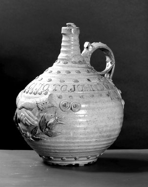 American. <em>Jug</em>, ca. 1828-1856. Stoneware, 11 1/8 x 9 3/8 x 8 3/4 in. (28.3 x 23.8 x 22.2 cm). Brooklyn Museum, Museum Collection Fund, 50.160. Creative Commons-BY (Photo: Brooklyn Museum, 50.160_bw.jpg)