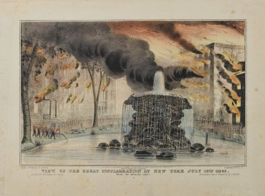 Nathaniel Currier (American, 1813-1888). <em>View of the Great Conflagration at New York from Bowling Green</em>, 1845. Lithograph on heavy wove paper, 8 1/8 x 12 5/8 in. (20.7 x 32 cm). Brooklyn Museum, Dick S. Ramsay Fund, 50.165 (Photo: Brooklyn Museum, 50.165_PS1.jpg)