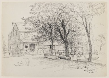 Charles Henry Miller (American, 1842-1922). <em>At the Alley</em>, August 21, 1882. Pen and ink on paper, Sheet: 10 x 14 1/16 in. (25.4 x 35.7 cm). Brooklyn Museum, Dick S. Ramsay Fund, 50.168 (Photo: Brooklyn Museum, 50.168_IMLS_PS3.jpg)