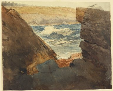 Winslow Homer (American, 1836-1910). <em>Through the Rocks</em>, 1883. Watercolor heightened with white, 11 7/16 x 14 in. (29.0 x 35.5 cm). Brooklyn Museum, Bequest of Sidney B. Curtis in memory of S.W. Curtis, 50.183 (Photo: Brooklyn Museum, 50.183_SL3.jpg)