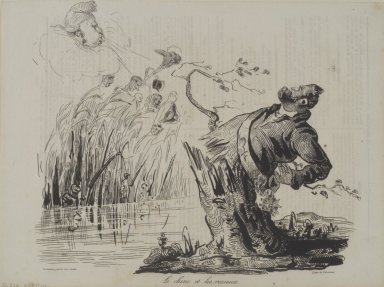 Honoré Daumier (French, 1808-1879). <em>The Oak and the Reeds (Le chêne et les roseaux)</em>, October 5, 1834. Lithograph on newsprint, 9 3/8 x 10 5/8 in. (23.8 x 27 cm). Brooklyn Museum, Gift of Mary Smith Dorward, 50.190 (Photo: Brooklyn Museum, 50.190.jpg)