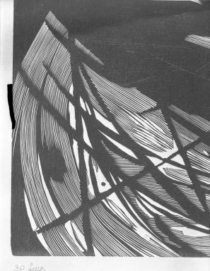 Misch Kohn (American, 1916-2002). <em>Death Rides a Dark Horse</em>, 1949. Wood-engraving on China paper, 21 7/8 x 15 3/4 in. (55.5 x 40 cm). Brooklyn Museum, Dick S. Ramsay Fund, 50.27. © artist or artist's estate (Photo: Brooklyn Museum, 50.27_detail_acetate_bw.jpg)