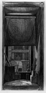 Armin Landeck (American, 1905-1984). <em>Window on Fourteenth Street</em>, 1949. Engraving, 12 5/16 x 5 7/8 in. (31.2 x 15 cm). Brooklyn Museum, Dick S. Ramsay Fund, 50.28. © artist or artist's estate (Photo: Brooklyn Museum, 50.28_acetate_bw.jpg)