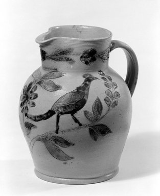 (probably) John Remmey III (1765-after 1831). <em>Pitcher</em>, ca. 1830. Stoneware, 8 5/8 x 7 5/8 x 6 3/4 in. (21.9 x 19.4 x 17.1 cm). Brooklyn Museum, Museum Collection Fund, 50.2. Creative Commons-BY (Photo: Brooklyn Museum, 50.2_bw.jpg)