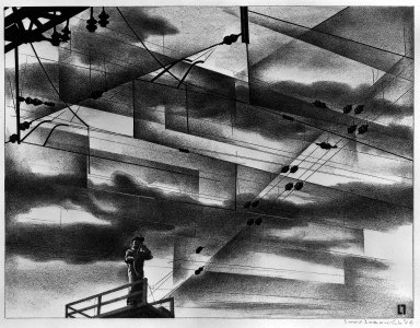 Louis Lozowick (American, born Russia, 1892-1973). <em>Design in Wire</em>, 1949. Lithograph on wove paper, Sheet: 12 x 16 in. (30.5 x 40.6 cm). Brooklyn Museum, Dick S. Ramsay Fund, 50.30. © artist or artist's estate (Photo: Brooklyn Museum, 50.30_acetate_bw.jpg)