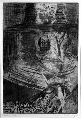 Karl Schrag (American, 1912-1995). <em>Falling Night</em>, 1949. Aquatint, etching, and engraving on paper, image: 17 3/4 x 12 in. (45.1 x 30.5 cm). Brooklyn Museum, Dick S. Ramsay Fund, 50.33. © artist or artist's estate (Photo: Brooklyn Museum, 50.33_acetate_bw.jpg)