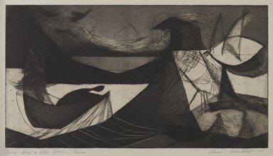 Anne Wienholt (Australian, born 1920). <em>Wind, Bird and other Northern Fauna</em>, 1948. Etching and aquatint on paper, 9 3/4 x 17 7/8 in. (24.8 x 45.4 cm). Brooklyn Museum, Dick S. Ramsay Fund, 50.35. © artist or artist's estate (Photo: , 50.35_PS4.jpg)