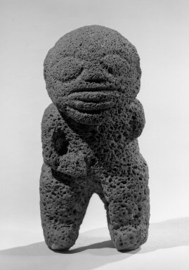Maohi. <em>Figure (Ti'i)</em>, ca. 1850. Stone, 8 3/4 x 4 x 4 in. (22.2 x 10.2 x 10.2 cm). Brooklyn Museum, Gift of Wolfgang Paalen, 50.52. Creative Commons-BY (Photo: Brooklyn Museum, 50.52_front_acetate_bw.jpg)
