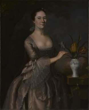 Joseph Blackburn (American, active ca. 1750-1780). <em>Portrait of a Woman</em>, ca. 1762. Oil on canvas, 44 x 35 13/16 in. (111.8 x 91 cm). Brooklyn Museum, Dick S. Ramsay Fund, 50.57 (Photo: Brooklyn Museum, 50.57_PS9.jpg)