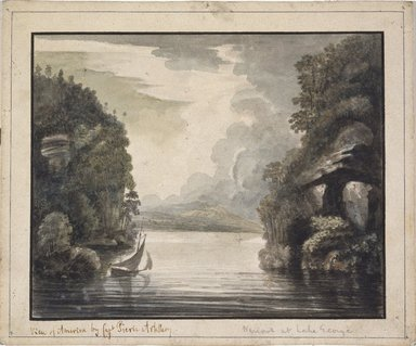 William Pierie (Captain) (American, active late 18th century). <em>Narrows at Lake George</em>, 1777. Watercolor on cream, thick, rough-textured, laid paperboard, Sheet: 8 7/16 x 10 3/16 in. (21.4 x 25.9 cm). Brooklyn Museum, Dick S. Ramsay Fund, 50.66.1 (Photo: Brooklyn Museum, 50.66.1_SL1.jpg)