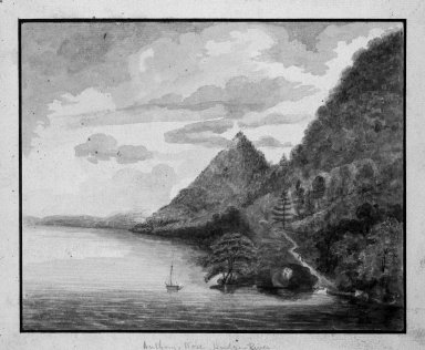 William Pierie (Captain) (American, active late 18th century). <em>Views of America  -  Anthony's Nose - Hudson River</em>. Watercolor Brooklyn Museum, Dick S. Ramsay Fund, 50.66.2 (Photo: Brooklyn Museum, 50.66.2_bw.jpg)