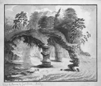 William Pierie (Captain) (American, active late 18th century). <em>Views of America - Curious Rock Formations</em>. Watercolor Brooklyn Museum, Dick S. Ramsay Fund, 50.66.3 (Photo: Brooklyn Museum, 50.66.3_bw.jpg)