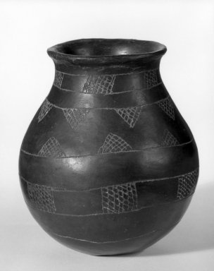 Caddo. <em>Three Jars with Incised Designs</em>, 1801-1833. Clay, slip, a)  4 3/4 x 2 1/2 x 2 1/2 in. (12.1 x 6.4 x 6.4 cm). Brooklyn Museum, Henry L. Batterman Fund and the Frank Sherman Benson Fund, 50.67.105a-c. Creative Commons-BY (Photo: Brooklyn Museum, 50.67.105a-c_view1_bw.jpg)