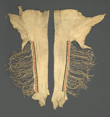 Sioux. <em>Pair of Leggings</em>, early 19th century. Buckskin, porcupine quills, pony beads, seed beads, pigment, 40 in. (101.6 cm). Brooklyn Museum, Henry L. Batterman Fund and the Frank Sherman Benson Fund, 50.67.10a-b. Creative Commons-BY (Photo: Brooklyn Museum, 50.67.10a-b_PS2.jpg)