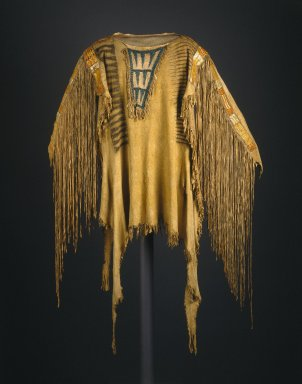 Sioux. <em>Chief's War Shirt</em>, early 19th century. Buckskin, dye, pigment, glass beads, porcupine quills, maidenhair fern stems, sinew, 30 x 20 in.  (76.2 x 50.8 cm). Brooklyn Museum, Henry L. Batterman Fund and the Frank Sherman Benson Fund, 50.67.11. Creative Commons-BY (Photo: Brooklyn Museum, 50.67.11_SL1.jpg)