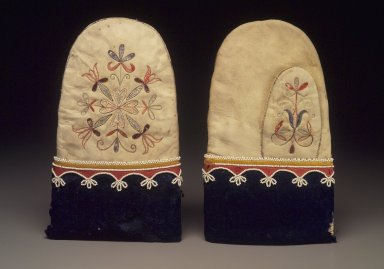 Red River Metis. <em>Mittens</em>, early 19th century. Buckskin, porcupine quills, bird quills, Stroud cloth (wool), silk ribbon, glass beads, cloth, thread, sinew, 10 x 5 3/4 in. (25.4 x 14.6 cm). Brooklyn Museum, Henry L. Batterman Fund and the Frank Sherman Benson Fund, 50.67.12a-b. Creative Commons-BY (Photo: Brooklyn Museum, 50.67.12a-b.jpg)