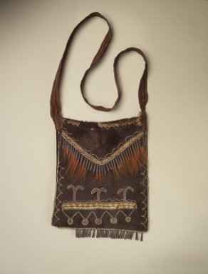 Delaware. <em>Black Pouch</em>, late 18th-early 19th century. Buckskin, porcupine quills, tin, deer hair, ribbon, glass beads, commercial cloth, 10 x 8 1/2 in. (25.4 x 21.6 cm). Brooklyn Museum, Henry L. Batterman Fund and the Frank Sherman Benson Fund, 50.67.15. Creative Commons-BY (Photo: Brooklyn Museum, 50.67.15.jpg)