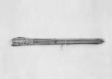 Sioux. <em>Arrows</em>, 19th century. Wood, metal, pigment, feathers, fibers, Arrow 1: 1 3/16 x 32 x 1/2 in. (3 x 81.3 x 1.3 cm). Brooklyn Museum, Henry L. Batterman Fund and the Frank Sherman Benson Fund, 50.67.151.1-.11. Creative Commons-BY (Photo: Brooklyn Museum, 50.67.151_bw_SL1.jpg)