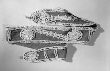 Cherokee. <em>Belt</em>, 19th century. Wool, beads, 52 x 3 1/2 in. (132.1 x 8.9 cm). Brooklyn Museum, Henry L. Batterman Fund and Frank Sherman Benson Fund, 50.67.24. Creative Commons-BY (Photo: Brooklyn Museum, 50.67.24_acetate_bw.jpg)