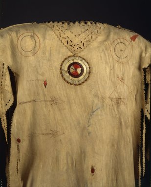 Yanktonai, Nakota, Sioux. <em>Decorated Shirt</em>, early 19th century. Buckskin, porcupine quills, glass beads, pigment, sinew, 59 x 41 x 16 in. (149.9 x 104.1 x 40.6 cm). Brooklyn Museum, Henry L. Batterman Fund and Frank Sherman Benson Fund, 50.67.3a. Creative Commons-BY (Photo: Brooklyn Museum, 50.67.3a_front_SL4.jpg)