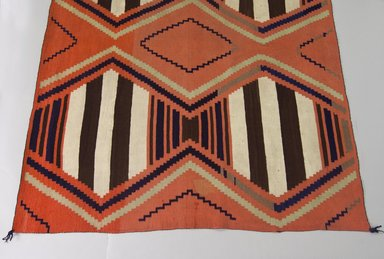 Navajo. <em>Bayeta-style Blanket</em>, 1875-1880. Wool, dye, 59 x 81in. (149.9 x 205.7cm). Brooklyn Museum, Henry L. Batterman Fund and the Frank Sherman Benson Fund, 50.67.46. Creative Commons-BY (Photo: Brooklyn Museum, 50.67.46_view1_PS5.jpg)