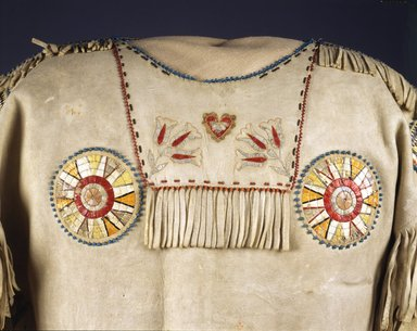 Red River Metis. <em>Chief's War Shirt</em>, 19th century. Buckskin, porcupine quills, garnet beads, pony beads, seed beads, thread