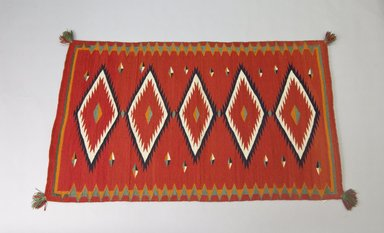 Navajo. <em>Saddle or Child's Blanket</em>, 1875-1880. Wool, dye, 30 x 51in. (76.2 x 129.5cm). Brooklyn Museum, Henry L. Batterman Fund and the Frank Sherman Benson Fund, 50.67.52. Creative Commons-BY (Photo: Brooklyn Museum, 50.67.52_PS5.jpg)