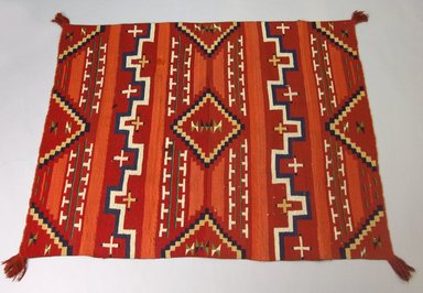 Navajo. <em>Probably Bayeta-style Blanket with Terrace and Stepped Design</em>, 1870-1880. Wool, dye, 44 x 58in. (111.8 x 147.3cm). Brooklyn Museum, Henry L. Batterman Fund and the Frank Sherman Benson Fund, 50.67.54. Creative Commons-BY (Photo: Brooklyn Museum, 50.67.54_PS5.jpg)