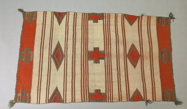 Navajo. <em>Saddle or Child's Blanket</em>, 1870-1880. Wool, 31 x 53in. (78.7 x 134.6cm). Brooklyn Museum, Henry L. Batterman Fund and the Frank Sherman Benson Fund, 50.67.56. Creative Commons-BY (Photo: Brooklyn Museum, 50.67.56_PS5.jpg)