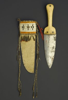 Eastern, Sioux. <em>Knife and Sheath</em>, early 19th century. Steel, bone, hide, quills, copper, cloth, knife in sheath: 13 x 6 in. (33 x 15.2 cm). Brooklyn Museum, Henry L. Batterman Fund and the Frank Sherman Benson Fund, 50.67.59a-b. Creative Commons-BY (Photo: Brooklyn Museum, 50.67.59a-b_PS1.jpg)