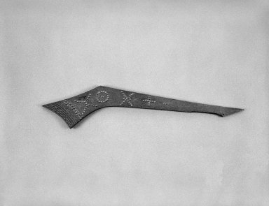 Eastern, Sioux. <em>War Club</em>, early 19th century. Wood, brass nails, 30 1/2 x 6 1/2 x 3/4 in. (77.5 x 16.5 x 1.9 cm). Brooklyn Museum, Henry L. Batterman Fund and the Frank Sherman Benson Fund, 50.67.75. Creative Commons-BY (Photo: Brooklyn Museum, 50.67.75_bw_SL1.jpg)