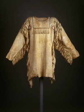 Red River Metis. <em>Chief's Dress Shirt</em>, early 19th century. Buckskin, glass beads, dyed hair, porcupine quills, thread, 39 x 52 in. (99.1 x 132.1 cm). Brooklyn Museum, Henry L. Batterman Fund and Frank Sherman Benson Fund, 50.67.7a. Creative Commons-BY (Photo: Brooklyn Museum, 50.67.7a_SL1.jpg)